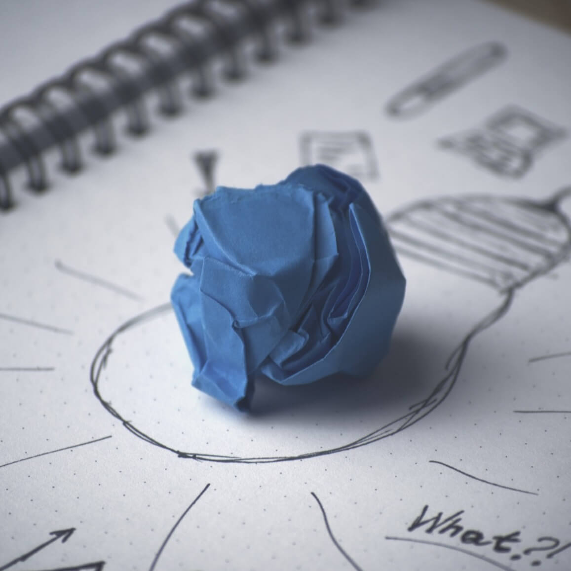 drawing of a lightbulb representing an idea and creativity